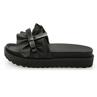 【HIKOREA】正韓製/版型正常。抓皺美學一字造型軟Q厚底止滑美體涼拖鞋(71-3253二色/現貨+預購)