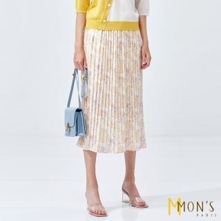 【MON'S】優雅氣質印花百褶長裙(2款4色)