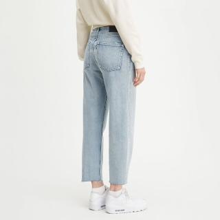 【LEVIS】LMC 前衛工藝支線 女款 Barrel復古高腰繭型牛仔長褲 / 腰間編織繩繫帶 / 及踝款-熱銷單品