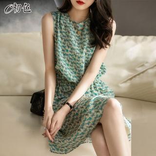 【初色】復古印花背心洋裝-綠色-98899(M-2XL可選)