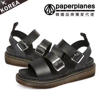 【Paperplanes】正韓空運。質感亮面金屬皮革釦帶顯瘦厚底涼鞋(7-226/現+預)