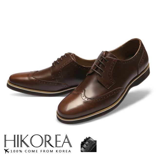 【HIKOREA】韓國空運/版型正常。男款拼接皮革牛津雕花裝飾紳士皮鞋(73-410共2色/現貨+預購)/