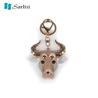 【Sarlisi】牛氣沖天掛件頭層牛皮牛頭掛飾包包飾品時尚個性潮流鑰匙扣女