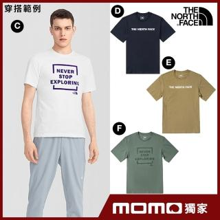 【The North Face】MOMO限時優惠-初夏必備男女款LOGO印花短袖T恤(8款任選)