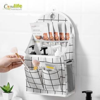 【Conalife】壁掛式多層格棉麻收納置物袋(1入)