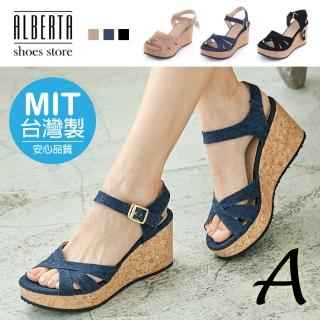 【Alberta】MIT台灣製 優雅氣質百搭/一字寬帶交叉楔型厚底涼鞋/粗跟繫帶涼鞋