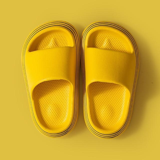 【ego life】描邊風格EVA柔軟厚底成人兒童室內外浴室涼拖鞋(防水拖鞋)