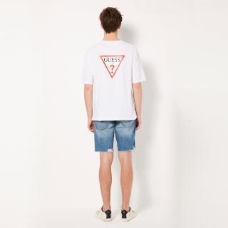 【GUESS】男裝-純色背部經典雙LOGO短T-白(MJ2K9418KWHT)