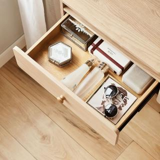 【hoi! 好好生活】林氏木業簡約實木腳可伸縮翻蓋化妝桌JS3C-A 原木色