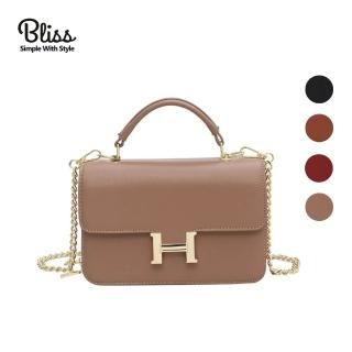 【Bliss BKK】H字母造型單磁扣鍊條小方包 手機包 肩背包 隨身包(共4色 附贈防塵袋)