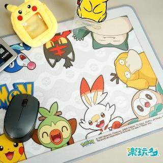 【SOZOSTAR 樂玩多】Pokemon寶可夢超大防潑水布面滑鼠墊-灰(布面防潑水/精緻包邊/防滑)