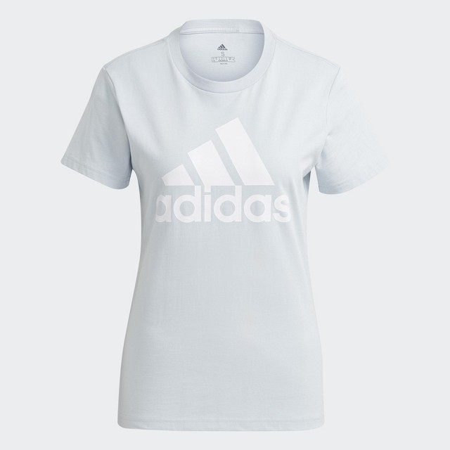 【adidas 愛迪達】上衣 運動上衣 運動T恤 訓練 慢跑 健身 女款 淺藍(GV4029)