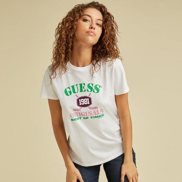 【GUESS】女裝-ORIGINALS系列個性字母短T-白(W1BI40K9YD1G011)